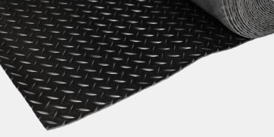 Diamond-plate rubber flooring